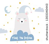 sweet dreams quote with doodles.... | Shutterstock .eps vector #1303340443