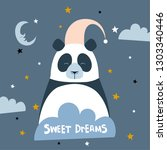 sweet dreams quote with doodles.... | Shutterstock .eps vector #1303340446