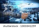 business people shaking hands ... | Shutterstock . vector #1303341259