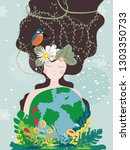 mother earth day poster with... | Shutterstock .eps vector #1303350733