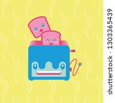 cute cartoon of toaster with... | Shutterstock .eps vector #1303365439