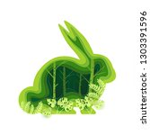 shape of a rabbit with a green... | Shutterstock .eps vector #1303391596