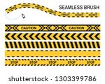 yellow ribbon caution police... | Shutterstock .eps vector #1303399786