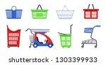 supermarket carts and baskets... | Shutterstock .eps vector #1303399933