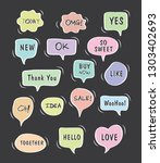 vector bubbles speech set. hand ... | Shutterstock .eps vector #1303402693
