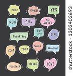 vector bubbles speech set. hand ... | Shutterstock .eps vector #1303402693