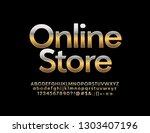 vector golden logo online store ... | Shutterstock .eps vector #1303407196