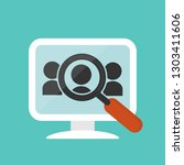 computer and magnifying glass... | Shutterstock .eps vector #1303411606