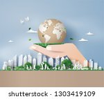 eco friendly   save the earth... | Shutterstock .eps vector #1303419109