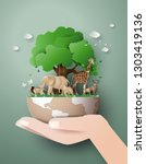 world wildlife day with the... | Shutterstock .eps vector #1303419136