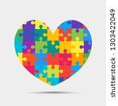 color pieces puzzle of romantic ... | Shutterstock .eps vector #1303422049