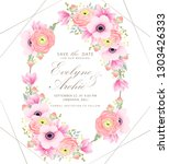 floral wedding invitation with... | Shutterstock .eps vector #1303426333