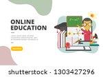online education flat design...   Shutterstock .eps vector #1303427296