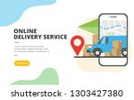 online delivery service flat...   Shutterstock .eps vector #1303427380