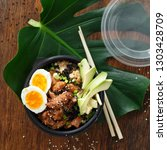 two poke bowl of fried rice ... | Shutterstock . vector #1303428709