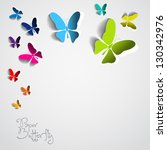 Stock vector greeting card with colorful paper butterflies on white background vector 130342976