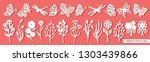 set of twigs  flowers ... | Shutterstock .eps vector #1303439866