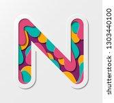 paper cut letter n symbol.... | Shutterstock .eps vector #1303440100