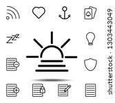 sunset icon. simple thin line ...