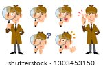 male detective's whole body and ... | Shutterstock .eps vector #1303453150