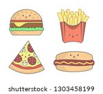 fast food in trendy kawaii... | Shutterstock .eps vector #1303458199