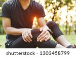 knee pain or injury during... | Shutterstock . vector #1303458799