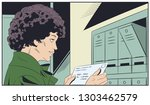 stock illustration. girl with... | Shutterstock .eps vector #1303462579