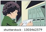 stock illustration. girl with... | Shutterstock .eps vector #1303462579