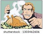 stock illustration. fat man... | Shutterstock .eps vector #1303462606