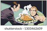 stock illustration. waiter... | Shutterstock .eps vector #1303462609