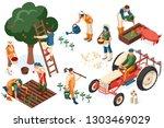 flat tractor set. farmer ... | Shutterstock .eps vector #1303469029