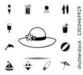 women's hat icon. simple glyph...