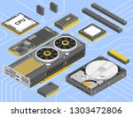 computer parts isometric set.... | Shutterstock .eps vector #1303472806