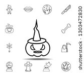 pumpkin with witch hat icon....
