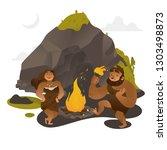 ancient people dancing around...   Shutterstock .eps vector #1303498873