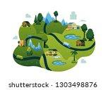 vector rural landscape scenery... | Shutterstock .eps vector #1303498876