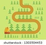 hut in forest map. woodland... | Shutterstock .eps vector #1303504453