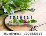 vegetable sprouts and herbs in... | Shutterstock . vector #1303533916