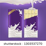 two tiles of white chocolate on ... | Shutterstock .eps vector #1303537270
