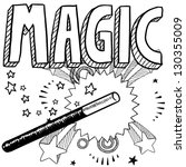 doodle style magic performer... | Shutterstock .eps vector #130355009