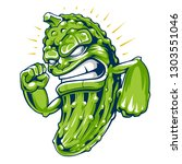 powerful cucumber mascot vector ... | Shutterstock .eps vector #1303551046