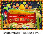 cinco de mayo greeting and... | Shutterstock .eps vector #1303551493