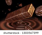 wafer chocolate bar and coffee... | Shutterstock .eps vector #1303567399