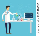 scientist in science education...   Shutterstock .eps vector #1303570030