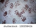 Prints Of Hands On The Old Wall
