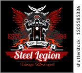 custom motorcycles club badge... | Shutterstock .eps vector #1303585336