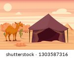 camel and tent in the desert | Shutterstock .eps vector #1303587316