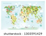 vector map of the world with... | Shutterstock .eps vector #1303591429