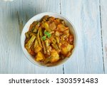 french beans and potatoes subji ... | Shutterstock . vector #1303591483