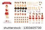 cheerleader character set for... | Shutterstock .eps vector #1303605730